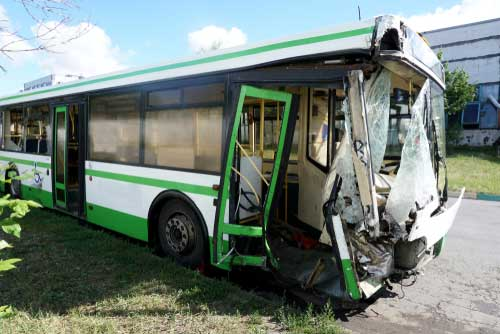 A bus that has been severely damaged in an accident in Macon, GA.